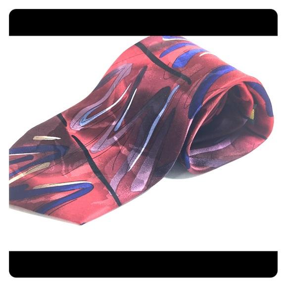 Jerry Garcia Mens Designer Fashion Pure Silk Tie Scarlet Red Black Silver